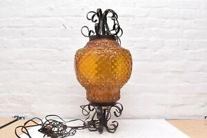 "Vintage Spanish Amber Glass Iron Pendant Light Ceiling Hanging MCM SWAG LAMP 25"""