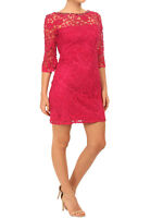 Adrianna Papell Pinky Red Lace Shift Dress with 3/4 Sleeves Orig Price £ 180