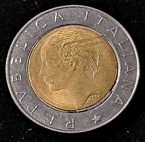 1995 Italy 500 Lire Nice Bi-Metalic Error Coin