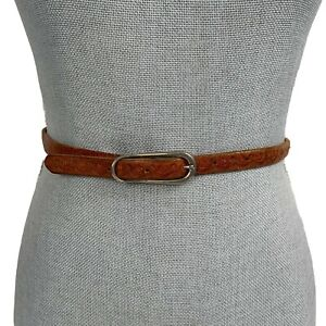 Vintage Floral Hand Tooled Skinny Thin Soft Brown Leather Belt Size 31 Small