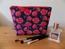 Handmade Toiletries Cosmetics Wash Bag Poppy Make Up Case Floral Cotton Fabric