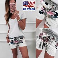Women's Floral Print Lace up Hot Pants Shorts Summer Casual Beach Waist Short US
