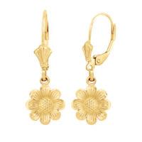 Solid 10k/14k Yellow Gold Sunflower Diamond Cut Leverback Earrings Set