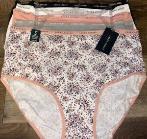 Laura Ashley Womens Brief Underwear Panties Floral 5-Pair Cotton Blend (F) ~ XL