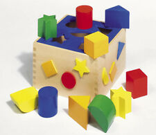 Steckbox Sortbox SORTIERBOX farbig aus Holz Formenspiel Kinder Formensortierbox