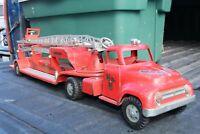 Tonka MFD Fire Ladder Pumper Truck - Pressed Steel - USA - 1950s