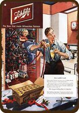 1950 Schlitz Beer Vintage Look Replica Metal Sign Man Wife Drink Christmas Tree