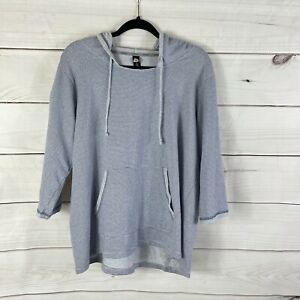 RBX woman 1X Striped Hooded Lightweight Pullover Top Athleisure Kangaroo Pocket