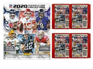 Panini 2020-21 NFL Collection:50 Packs (5 Stickers+1 Trading Card/pack)+2 Albums