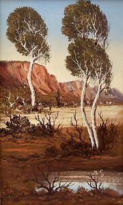 "Original Oil Painting By Henk Guth ""Desert Billabong"" Untitled"