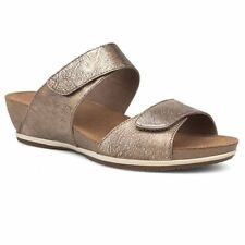 Dansko Vienna Nappa Gold Metallic Leather Double Strap Slide Wedge Sandal 41