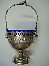 ANTIQUE WMF SILVER PLATED ART NOUVEAU BASKET BOWL w/ COBALT BLUE GLASS # DA009