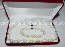 HUGE 12-18MM SOUTH SEA GENUINE WHITE BAROQUE PEARL NECKLACE BRACELET JN486