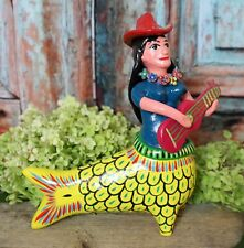 Mermaid La Sirena Guitar & Flowers Handmade Mexican Folk Art Pottery by Ortega