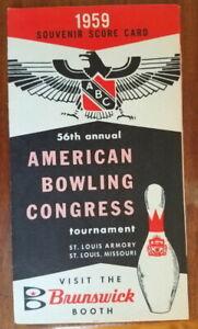 Vtg 1959 American Bowling Congress Tournament souvenir score card, Brunswick ad