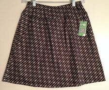 Ladies Pull-on Golf Skort-Black w/Tan & Aqua Small