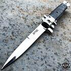 9' Classic Italian Milano Spring Assist Open Folding Stiletto Pocket Knife BLACK