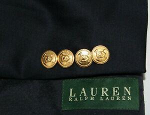 RALPH LAUREN 48L Navy w/ Gold Buttons Wool 2B Single Vent Blazer Jacket Coat