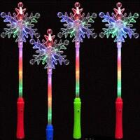 2 LIGHT UP FLASHING SNOWFLAKE 14IN WAND party lightup novelties holiday supplies