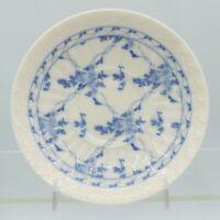 "6 1/8"" Blue Rose Brocade Porcelain Embossed Saucer Skye McGhie Vintage"