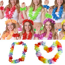 Hot 4X Multicolor Hawaiian Beach Leis Flower Necklace Tropical Luau Party Decors