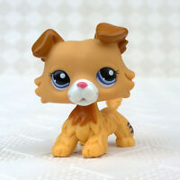 Rare LPS Toy Littlest Pet Shop Golden Cream Hair Collie Dog Puppy With Blue Eyes