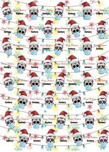 Personalised Sugar Skull mask Christmas Wrapping Paper.