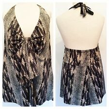 Simply Be Plus Size 28 30 Black Grey Snake Print Halterneck Long TOP Holiday £37