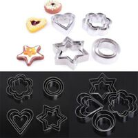 12pcs/set Cookie Biscuit Cutters Mold Round Star Heart Flower Shape Molds Decor