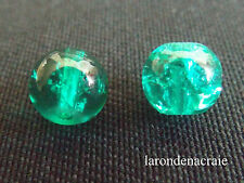 50 perles en verre craquelée VERT D'EAU 8 mm