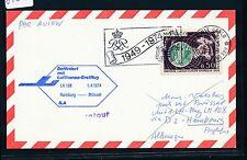 87867) LH FF Hamburg - Brüssel 1.4.74, Karte ab Monaco