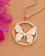 "Butterfly Pendant & Necklace Slovakian Handcut Coin  1"" Diameter ( # 605 )"