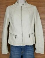 Black Rivet Soft Faux Leather Womens Jacket sz XS Cream Bone Zipper Accents
