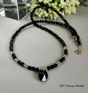 ONYX Necklace & black Crystal pendant 14k Gold Made in UK