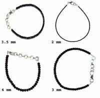 """Black Spinel Gemstone 5-10"""" Jawelry Bracelet  2-3-3.5-4 mm Beads  GBJH411"""