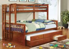Bunk Bed Trundle & Drawers University Oak Twin over Queen Size Kids Furniture
