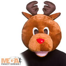 Reindeer Mascot Head Adults Fancy Dress Rudolph Christmas Xmas Costume Accessory