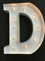 LED LIGHT CARNIVAL WHITE WEDDING CELEBRATION LETTER D - ALL METAL LARGE 33 CM