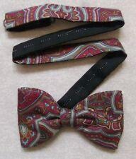 Bow Tie SILK Vintage Mens Bowtie Adjustable Tie Rack Dickie BURGUNDY