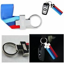 x1 M Color Logo Power Performance Alloy Leather Key Ring Key Fob Chain For BMW