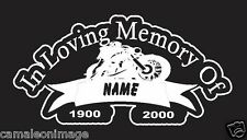 """In Loving Memory Of"" Biker Custom Made Decal for Truck/Car/Laptop, Motorcycle"