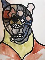 Hasworld original watercolour painting Signed,Street Art,Anime,Pop Art,abstract