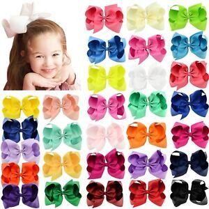 30pcs 6in Big Grosgrain Ribbon Hair Bows Clips for Baby Girls toddler Kids Teens