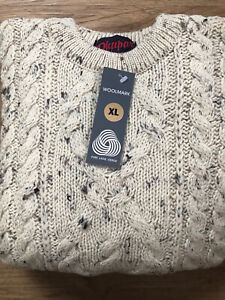Classic Aran 100% Wool Ivory Fleck Chunky Cable Knit Crew Neck Jumper Size XL