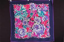 "Vintage 1960'S-1970'S Fine Silk Blue,Red & Purple Floral Design Scarf ""33W X30""L"