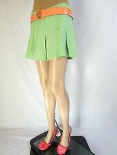 Vtg 80 Womens Retro Green Herringbone Pattern Pleated Wool Blend Mini Skirt AP74