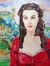 "16.49×21.69"" Vivien Leigh ~Scarlett~ watercolor SIGNED and DATED"