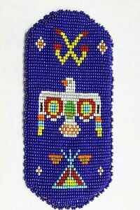 VINTAGE EYEGLASS CASE BAG POUCH BEADED LEATHER