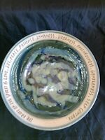"Handmade Glazed Pottery Bowl Cream Green Blue Inscribed ""fruit of the spirit"""