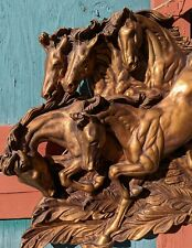 Vintage Wall Art Six Golden Stallions Relief Plaque – 1960s